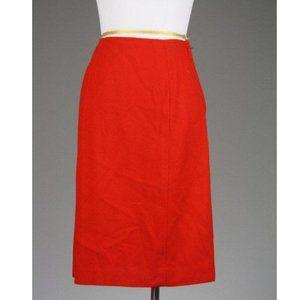 Vintage 60s Hadley Princess Seams Red Wool Skirt